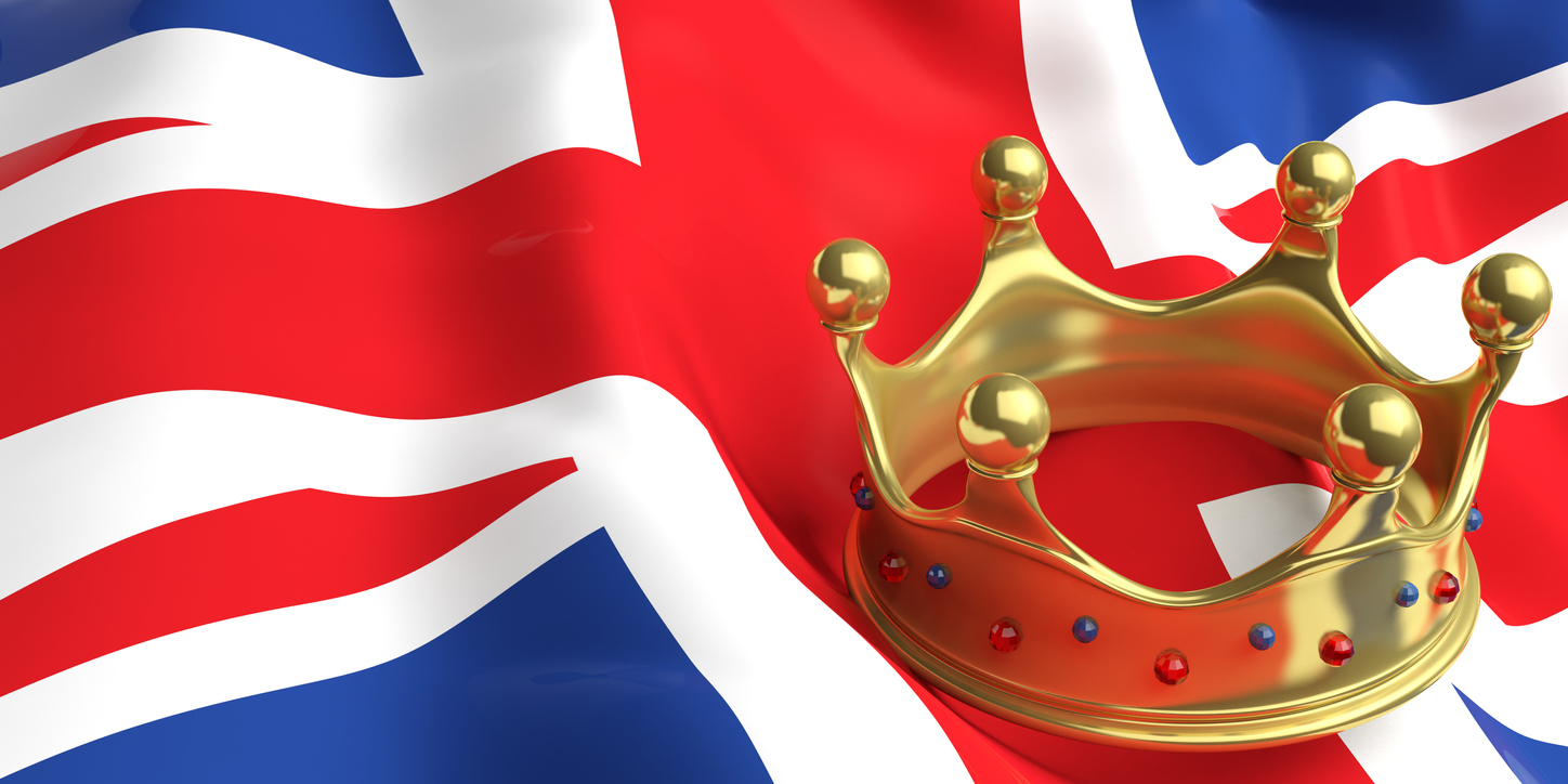 Golden crown on UK flag