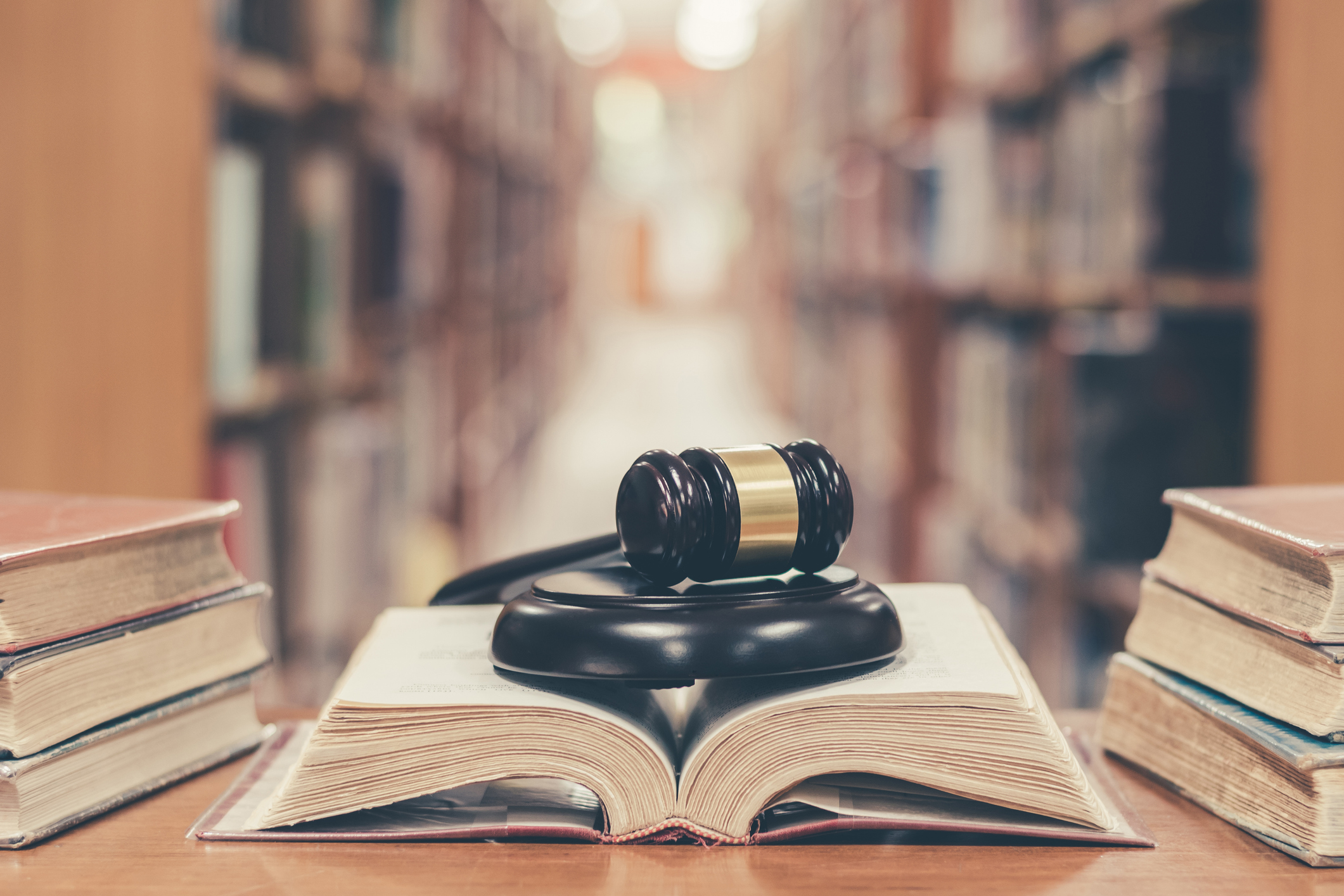 Judge gavel on book in library